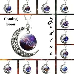 New Zodiac Cabochon Moon Pendant Necklaces
